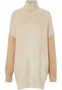 Burberry Suéter De Lã Mohair Com Mangas Contrastantes - Neutro