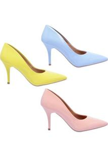 Kit 3 Pares Scarpin Bico Fino Salto Médio Ellas Online Feminino - Feminino-Rosa+Azul