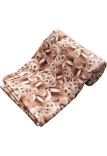 Cobertor Cuca Criativa Urso Rosa