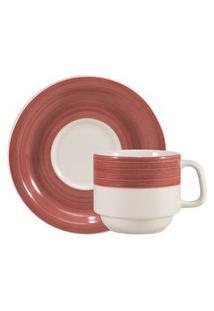 Xícara Chá Com Pires 200 Ml Porcelana Schmidt - Dec. Cilíndrica Pintura À Mão Vermelho