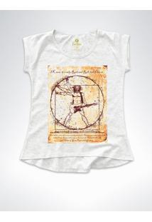 Camiseta T-Shirt Feminina Rock Cool Tees Guitarra Da Vinci Mescla - Cinza - Feminino - Algodã£O - Dafiti