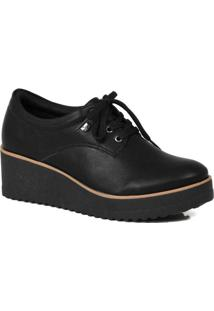 Sapato Oxford Feminino Quiz Anabela Preto