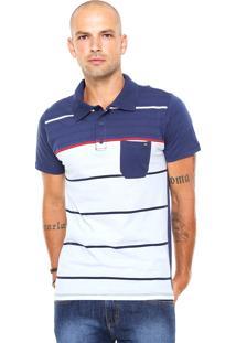 Camisa Polo Billabong Boweman Azul-Marinho/Branca/Vermelha