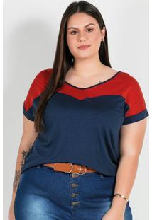 Blusa Plus Size Marinho Com Recorte Frente