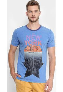 Camiseta Calvin Klein Gola Careca Contrastante Masculina - Masculino