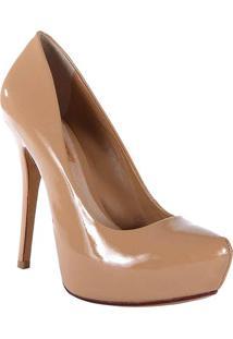 Sapato Meia Pata Em Couro- Bege- Salto: 13Cmschutz