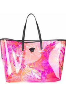 Versace Bolsa Tote Transparente Com Estampa - Rosa