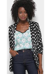 Blazer Lily Fashion Estampa Poá Feminino - Feminino-Preto