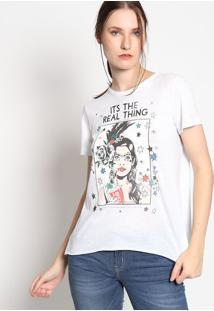 "Camiseta Em Botonê ""It'S The Real Thing""- Branca & Pretacoca-Cola"