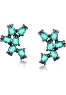 Brinco Francisca Joias Ear Cuff Pequeno Com Pedras Folheado Em Ródio Negro - Feminino-Azul