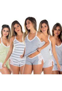 Baby Doll Renda Grécia Kit 5 Algodão - Feminino
