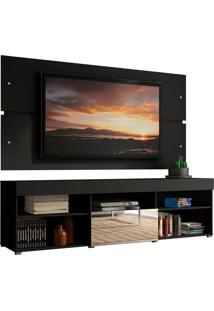 Rack Com Painel Para Tv Até 65 Polegadas Madesa Dublin 1 Porta Com Espelho - Preto Preto