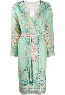 Etro Kimono De Seda Com Estampa Paisley - Verde