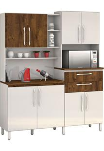 Armário De Cozinha Rubi 8 Portas Branco Com Malbec Vitamov