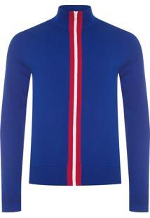 Casaco Masculino Placed Striped Zip Through - Azul