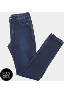 Calça Jeans Plus Size Sawary Skinny Feminina - Feminino-Azul