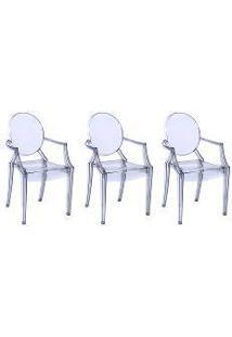Kit Com 3 Cadeiras Invisible Com Braço Transparente