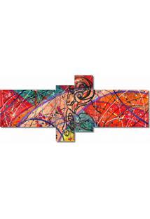 Quadro Painel Decorativo Aries Abstrato 4 Peças Salmão, Verde, Vermelho, Rosa