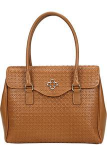 Bolsa Couro Capodarte Handbag Vazada Feminina - Feminino-Marrom-Claro