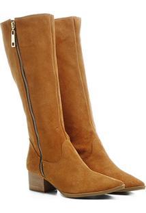 Bota Shoestock Cano Longo Salto Grosso Bico Fino Ziper - Feminino-Caramelo