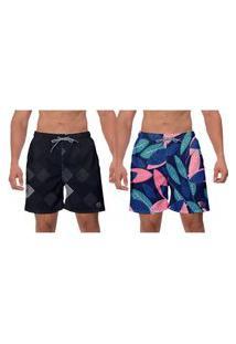 Kit 2 Shorts Praia Preto Azul Floral Estampado Moda Academia Esporte Banho W2