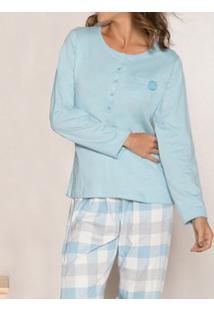 Pijama Longo Com Peitilho Abotoável Xadrez Pzama (40026) 100% Algodão