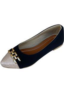 Sapatilha Likka Calçados Bico Fino Preta E Dourado - Tricae
