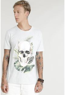 Camiseta Masculina Caveira Tropical Manga Curta Gola Careca Cinza Mescla Claro