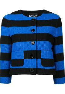 Boutique Moschino Jaqueta Cropped Listrada - Azul