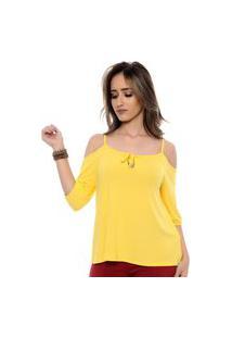 Blusa B'Bonnie Ombro Vazado Jordana Amarela