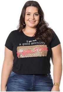 Blusa Cropped Estampado Miss Masy Plus Size Feminina - Feminino-Preto