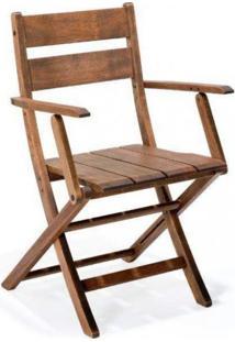 Cadeira Dobrável De Madeira Maciça Com Braços Verona Ipanema Mestra Móveis Polisten Nogueira