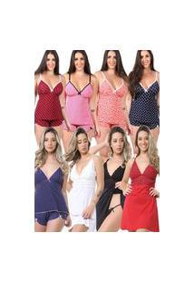 Pijama Isa Lingerie 5 Baby Doll Estampado 3 Camisolas Preto Branco Vermelho