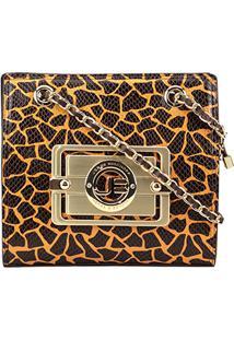 Bolsa Couro Jorge Bischoff Mini Bag Estampada Alça Corrente Feminina - Feminino-Estampado