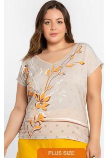 Blusa Plus Size Decote V Bege