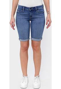 Bermuda Jeans Gap Feminina - Feminino-Azul