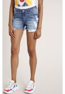 Short Jeans Feminino Reto Cintura Média Destroyed Azul Médio