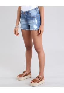 Short Jeans Feminino Reto Destroyed Azul Médio