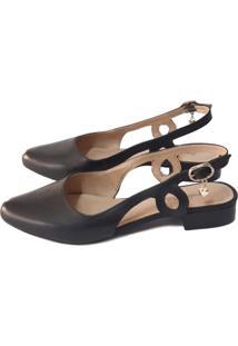 Scarpin Sapatos E Botas Slingback Couro Preto