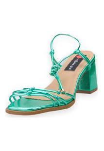 Sandália Salto Bloco Love Shoes Tiras Delicadas Amarraçáo Metalizado Verde