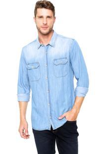 Camisa Jeans Sergio K Reta Contraste Azul