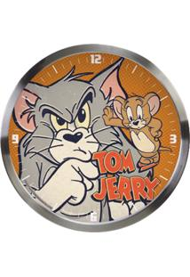 Relógio De Parede Hanna Barbera Alumínio Tom And Jerry 30Cmx4,2Cm Prata/Laranja