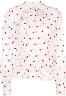 Brock Collection Heart-Print Sheer Blouse - Branco