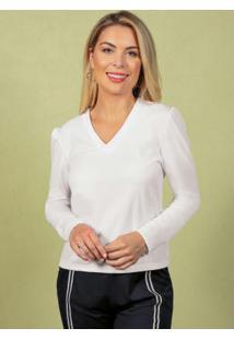 Blusa Branca Manga Longa Com Decote Em V