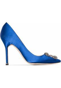 Manolo Blahnik Scarpin 'Hangisi 105' De Couro E Cetim - Azul
