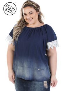 Blusa Plus Size - Confidencial Extra Judy Ciganinha Com Renda