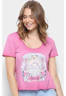 Camiseta Coca-Cola Estampada Feminina - Feminino-Rosa