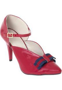 Sapato Vermelho Bico Fino Com Verniz