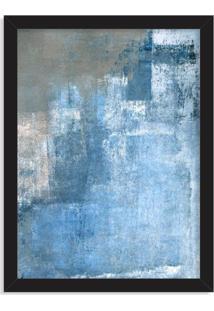 Quadro Decorativo Abstrato Textura Azul Preto - Médio