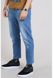 Calça Jeans Masculina Com Mosquetão Azul Médio